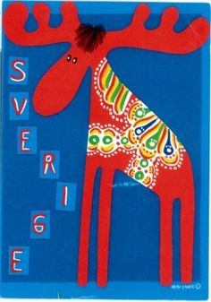 Postcard - Dala the Moose- Sweden. Swedish Christmas, Scandinavian Christmas, Welcome To Sweden, Swedish Girls, Scandinavian Folk Art, Forest Animals, Vintage Travel Posters, Spirit Animal, Art Lessons