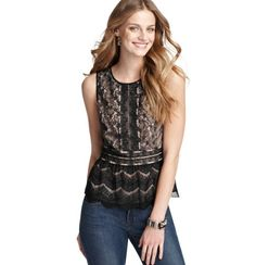 """CT+LA are loving this """"...The allover lace detailing makes it super fun for a holiday party & the peplum shape is so flattering. """" Liz - """"I love this top because it is classic and elegant - it can be worn for work or play!"""" Taylor -- LOFT Allover Lace Peplum Shell, $69.50"""