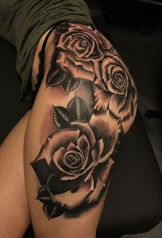 i'm most definitely getting a thigh tattoo if it's the last thing i ever do ! Mommy Tattoos, Dope Tattoos, Girly Tattoos, Body Art Tattoos, Feminine Tattoos, Tatoos, Hip Thigh Tattoos, Rose Tattoo Thigh, Thigh Tattoo Designs