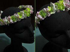 TallerdeLuna: Corona de pétalos de tela::Rosa y verde