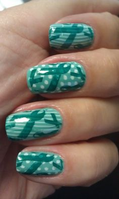 Ovarian Cancer Awareness Nails- for my sweet Mary Anne Gorgeous Nails, Love Nails, Pretty Nails, Teal Nails, Ovarian Cancer Awareness, Cervical Cancer, Mani Pedi, Manicure, Simple Nails
