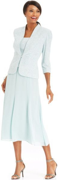 $119 T14 Alex Evenings Sleeveless Jacquard Sparkle Dress And Jacket in Blue (Mint):
