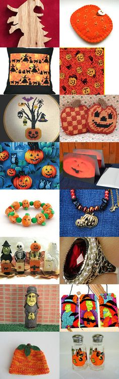 Witches and Pumpkins by Cathy Sontup on Etsy--Pinned with TreasuryPin.com