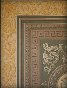 trompe-loeil-panelling Stencil Painting, Paint Stencils, Arabesque, French Wallpaper, Floor Ceiling, Wallpaper Panels, Stencil Designs, Ceiling Design, Interior Paint