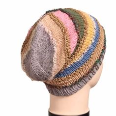 2e9a0197f7e Pastel colour knitted beanie with colourful silk thread work in between and  knitted ribbed hem for snug fit.