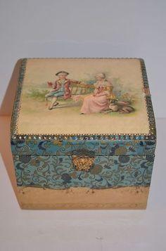 Victorian Celluloid Dresser Collar Cuff Box Man Lady Dog Portrait Blue | eBay