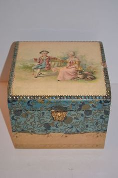 Victorian Celluloid Dresser Collar Cuff Box Man Lady Dog Portrait Blue | eBay