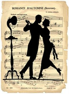 Laminas decoupage: laminas vintage Wendy P jaulas, sillas antiguas, lamparas. Sheet Music Art, Vintage Art Deco, French Art, Dance Art, Couple Silhouette, Dancers Art, Art, Silhouette, Music Art
