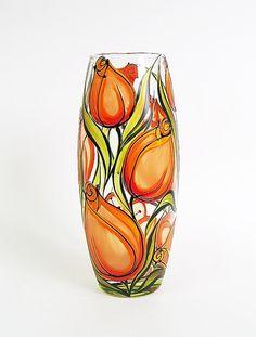 Hand painted glass vase - Orange tulips