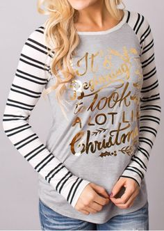 *** This item is on pre-order and will be dispatched 2-4 weeks after your order is placed. Order now so you don't miss out*** Casual raglan style long sleeve t-shirt. Cream striped sleeves and grey body with gorgeous stand out gold writing. Christmas jumpers have been and gone – these beauties are a much more …