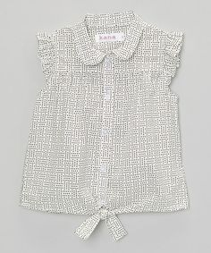 Look at this #zulilyfind! White & Black Polka Dot Angel-Sleeve Top - Toddler & Girls #zulilyfinds