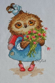 Inge paltser, so easy to do and they always look great. Cross Stitch Owl, Cross Stitch Books, Cross Stitch Animals, Cross Stitch Patterns, Owl Embroidery, Cross Stitch Embroidery, Embroidery Patterns, C2c Crochet, Crochet Crafts