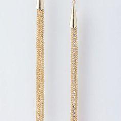 Metal fringe earrings.