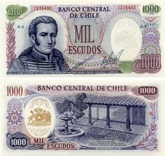1971 series Chilean banknote, featuring general José Miguel Carrera on the obverse side, and the Carrera House and the coat of arms of Chile on the reverse side.