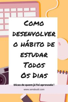 Estudar: como desenvolver o hábito de estudos. Study Help, Study Tips, Learn Portuguese, Study Organization, Bullet Journal School, Brain Gym, Lettering Tutorial, Study Notes, Sweet Words