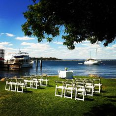 Garden wedding ceremony at Mosmans Restuarnt on the Swan River, Mosman Park, Perth