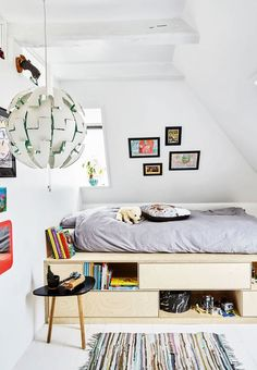 #Kidsroom Star Wars inspired light fixture from Ikea, loft bed with bookshelves built in underneath, white walls and floors