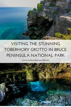 Visiting the Stunning Tobermory Grotto in Bruce Peninsula National Park in Ontario, Canada Alberta Canada, Vacation Destinations, Vacation Trips, Vacations, Tobermory Canada, Tobermory Ontario, Quebec, Places To Travel, Montreal Canada