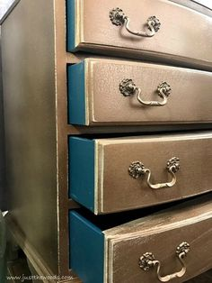 Give your dresser a metallic glaze by using the HomeRight paint sprayer. This paint sprayer made painting this dresser EASY! The Bronze color adds a pop of character in your room and the bold, teal painted drawers are sure to catch attention.
