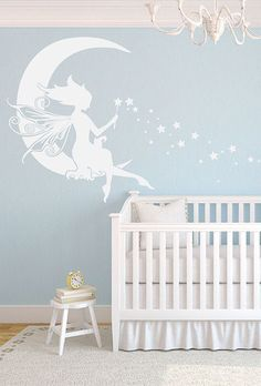 Moon Fairy Wall Decor in White - Delightful Decals
