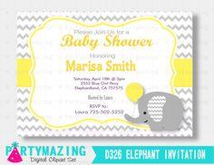 Elephant Printable Invitation, Elephant Baby Shower Invitation Yellow Chevron and Grey, Yellow Elephant Baby Shower Collection D326