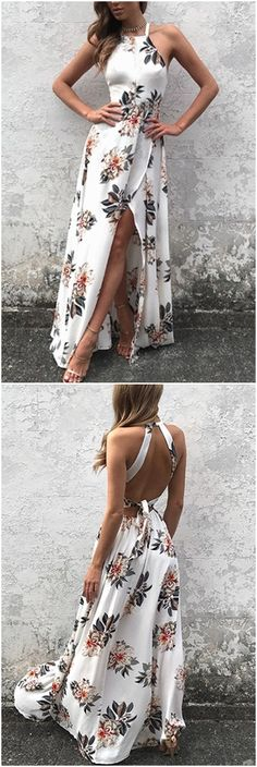 White Side Split Back Lace-up Random Floral Print Sleeveless Dress  US$25.95