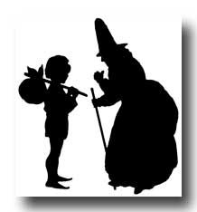 Silhouettes of People :: Little Boy and Mother Goose Silhouette
