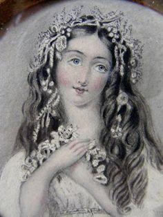Antique Pre-Raphaelite Portrait Miniature of Ophelia 1868