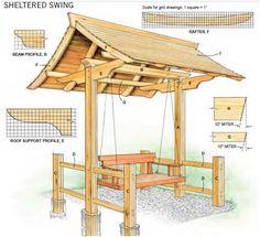 Doe het zelf bouwtekening voor een schommel met overkapping van steigerhout.