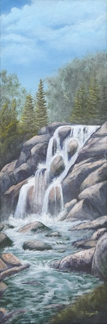 Running Waters 10x30 Acrylic on Canvas: By Karen Sargent..... A representation of one of the many waterfalls that can be found through out beautiful British Columbia, Canada.