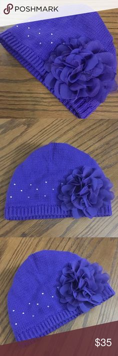 NWOT • Flower Princess Cap ✨💜 NWOT • Flower Princess Cap • Embellished w/ little stones & a big Purple Flower • Ribbed along the edges • Beautiful & Dainty!  💜✨BRAND NEW WITHOUT TAGS! ✨💜 Emirreh Accessories Hats