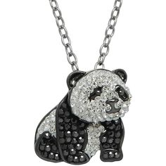 Animal Planet™ Crystal Sterling Silver Endangered Giant Panda Pendant... ($100) ❤ liked on Polyvore featuring jewelry, necklaces, sterling silver crystal necklace, crystal pendant, panda necklace, crystal necklace pendant and multi colored crystal necklace