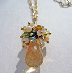 Pendant Necklace of Citrine, Welo Opal, Peridot, Pearl and Gold -- Free US Shipping by WhisperedSecrets on Etsy https://www.etsy.com/listing/80467766/pendant-necklace-of-citrine-welo-opal