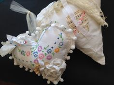 Pom Pom edge embroidery Heart with fabric rosette -fabric heart with machine stitched Music paper --strands of lace and ribbons