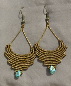 Macrame tribal earrings with Turquoise by AntheaMacrame on Etsy
