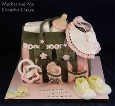 Diaper Bag - Baby Shower - Cake by Mother and Me Diaper Bag Cake, Baby Diaper Bags, Baby Shower Finger Foods, Torta Baby Shower, Make Up Cake, 40th Birthday Cakes, Shower Bebe, Animal Cakes, Novelty Cakes