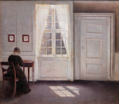 Vilhelm Hammershøi 1901 Interior in Strandgade 스트란가데 거리의 햇빛이 바닥에 비치는 방