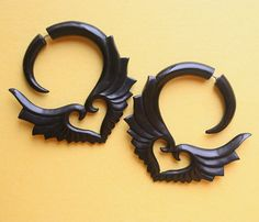 Fake Gauge Earrings  Hand Carved Natural Horn