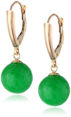 14k Yellow Gold Green Jade Round Lever-Back Dangle Earrings * Want additional info? Click on the image.-It is an affiliate link to Amazon.