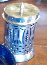 Cobalt blue glass jar with silverplate overlay