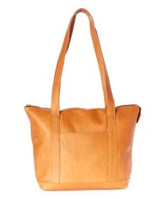 Look what I found on #zulily! Tan Double Strap Pocket Tote Bag by Le Donne #zulilyfinds