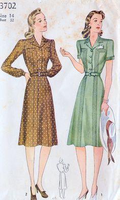 1940s Misses Shirtwaist Dress