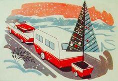 Caravan Christmas. Vintage Christmas Card. Retro Christmas Card.