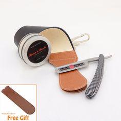 GDL208 Straight Razor Cut Throat+Black Leather Strop+Soap Barber Wet Shaving Set #Affiliate