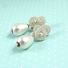 Bridal earrings Soutache wedding jewelry delicate bridal soutache earrings, pearl earrings