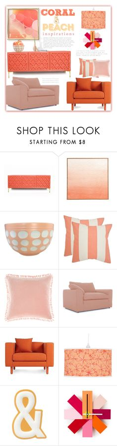 """""""Coral and Peach Decor"""" by fassionista ❤ liked on Polyvore featuring Anthropologie, Safavieh, Linen House, Joybird, Blu Dot, FOSSIL, Normann Copenhagen, peach, coral and moodboard"""