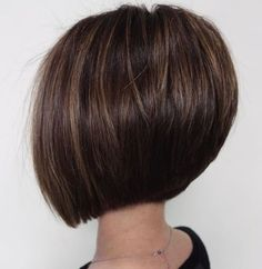 Classy Short Haircuts and Hairstyles for Thick Hair Straight Brunette Bob With Subtle Highlights See it Inverted Bob Hairstyles, Short Hairstyles For Thick Hair, Haircut For Thick Hair, Short Bob Haircuts, Short Hair Cuts, Curly Hair Styles, Medium Hairstyles, Braided Hairstyles, Straight Haircuts