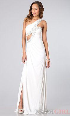 One Shoulder Ruched Long Prom Dress at PromGirl.com