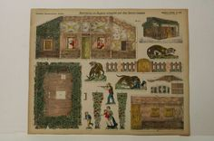 Pellerin Imagerie D'Epinal 121 Habatation Guyane Jaguars G. vintage paper model