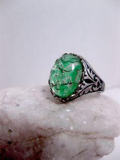 Silver Streak Green Opal Ring by FashionCrashJewelry on Etsy
